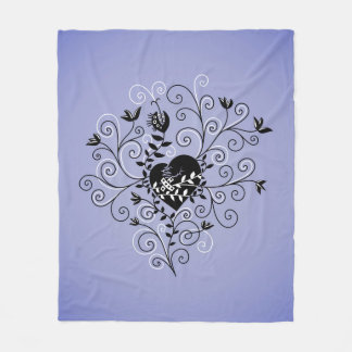 Dark Abstract Whimsical Fixed Broken Heart Fleece Blanket