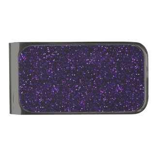 Dark Amethyst Purple Glitter Gunmetal Finish Money Clip