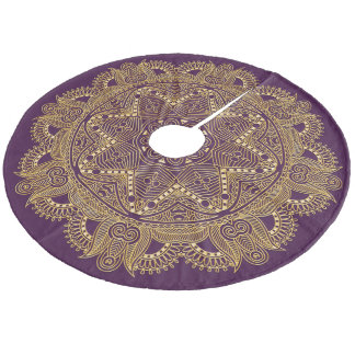 Dark Amethyst Purple Mandala Star Pattern Fleece Tree Skirt
