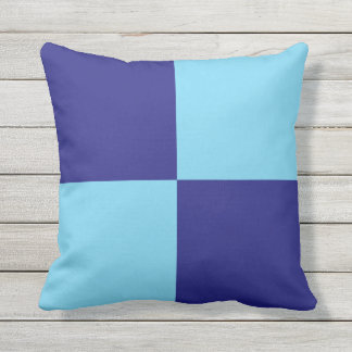 Dark and Light Blue Color Blocks Throw Pillow