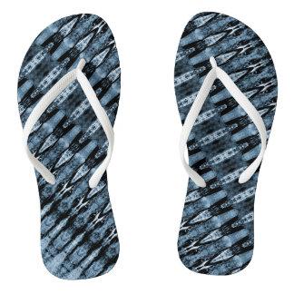 Dark and light blue pattern flip flops