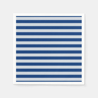 Dark and Light Blue Stripes Disposable Napkins