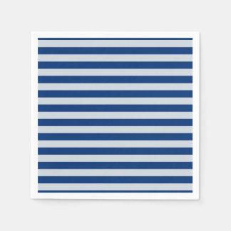 Dark and Light Blue Stripes Paper Napkin