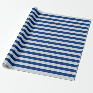 Dark and Light Blue Stripes Wrapping Paper