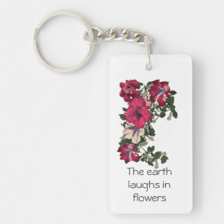Dark and light pink variegated ruffled petunias keychain