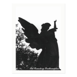Dark Angel Statue Old Cemetery Postcard Text