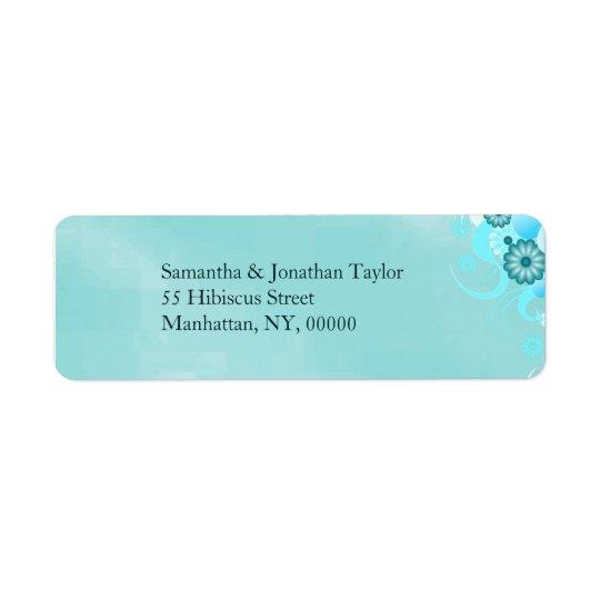 Dark Aqua Teal Blue Turquoise Floral Wedding Return Address Label