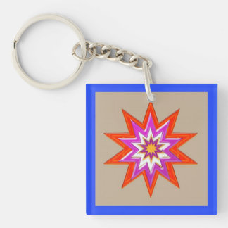Dark Artistic Waves Patterns Happy Celebrations Keychain