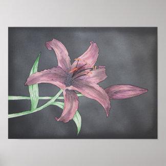 Dark Asiatic Lilies Poster