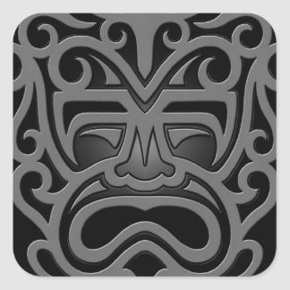 Dark Aztec Mask Square Sticker
