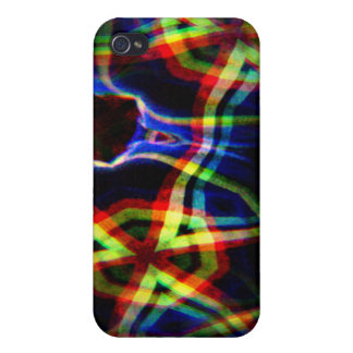Dark background electric yellow and orange pattern case for iPhone 4