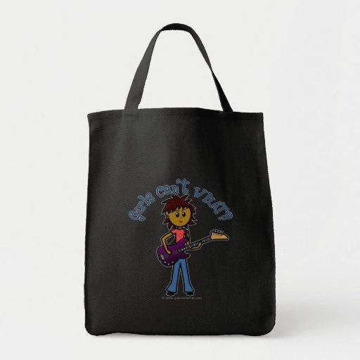 Dark Bass Guitar Girl Canvas Bag