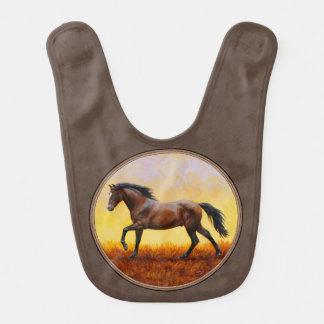 Dark Bay Running Horse Taupe Bib