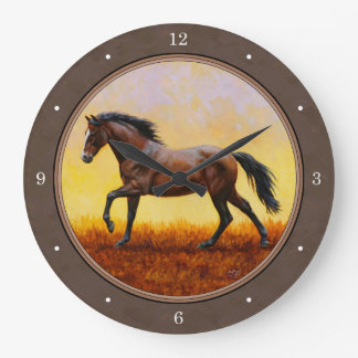 Dark Bay Running Horse Taupe Wallclock