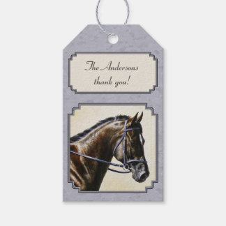 Dark Bay Sport Horse Gray Pack Of Gift Tags