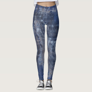 Dark blue abstract paint and scratches leggings