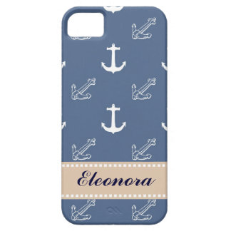 Dark Blue Anchors iPhone 5 Cases