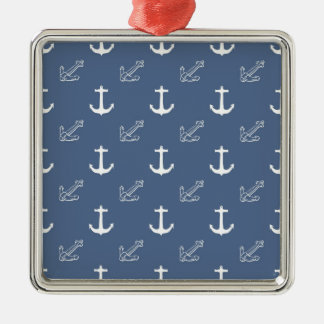 Dark Blue Anchors Silver-Colored Square Ornament