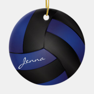 Dark Blue and Black Personalize Volleyball Round Ceramic Ornament