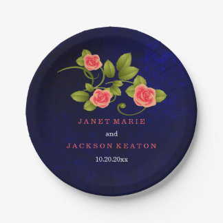 Dark Blue and Coral Rose Flower Wedding Collection Paper Plate