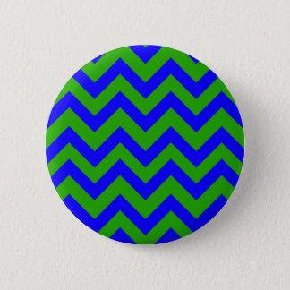 Dark Blue And Dark Green Chevrons 2 Inch Round Button
