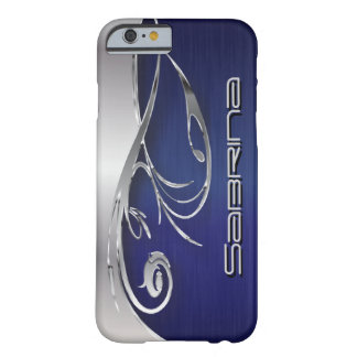 Dark Blue and Elegant Silver Metal Print Barely There iPhone 6 Case