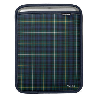 Dark Blue and Green Clan Campbell Tartan Monogram iPad Sleeve