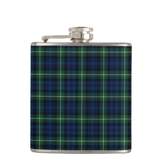 Dark Blue and Green Gordon Clan Scottish Plaid Flasks
