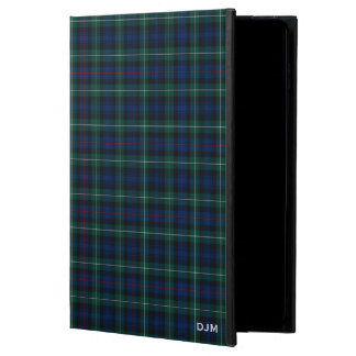 Dark Blue and Green Mackenzie Clan Tartan Monogram Powis iPad Air 2 Case