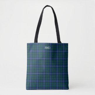 Dark Blue and Green Plaid Douglas Tartan Monogram Tote Bag