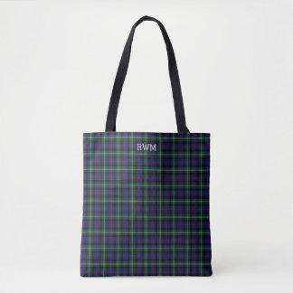 Dark Blue and Green Plaid Malcolm Tartan Monogram Tote Bag