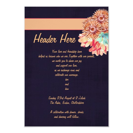 Dark Blue and Peach Invitation