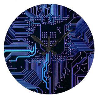Dark Blue and Purple Cool Computer Circuit Board Clocks