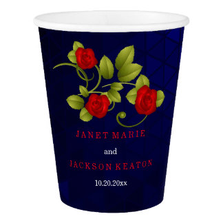 Dark Blue and Red  Rose Flower Wedding Collection Paper Cup