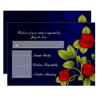 Dark Blue and Red Rose Flower Wedding - RSVP Card
