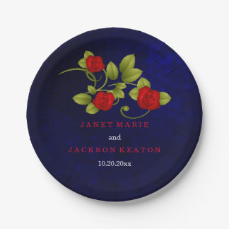 Dark Blue and Red Rose Wedding 7 Inch Paper Plate