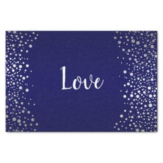 Dark Blue and Silver Confetti Dots Tissue Paper