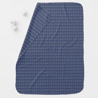 Dark Blue and Snow White Polka Dots Pattern Baby Blanket