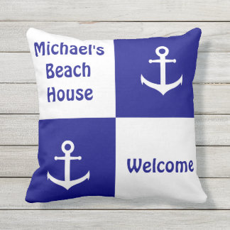 Dark Blue and White Checkerboard Anchor Pillow