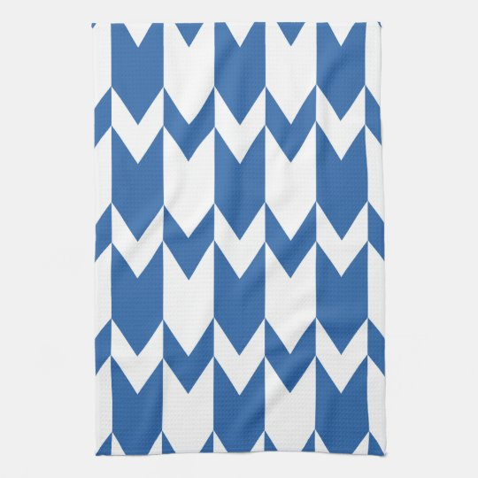 Dark Blue and White Chevron Pattern. Towel