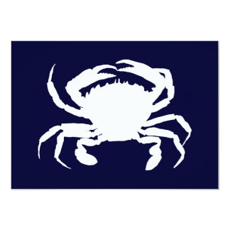 Dark Blue and White Crab Shape Card