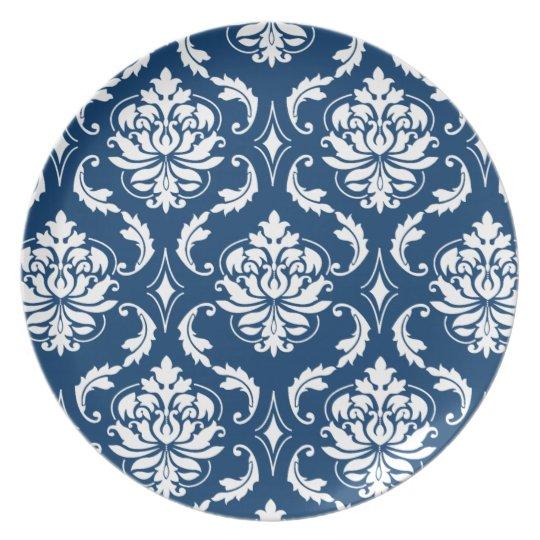 Dark Blue and White Damask Pattern Melamine Plates