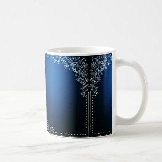 Dark Blue And White Flower Decoration Coffee Mug