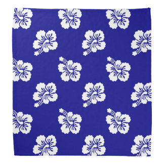 Dark Blue and White Hawaiian Floral Pattern Do-rags