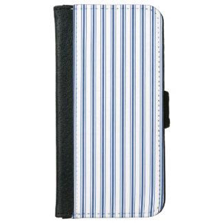 Dark Blue and White Mattress Ticking Narrow Stripe iPhone 6 Wallet Case