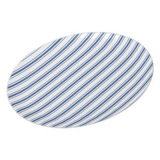 Dark Blue and White Mattress Ticking Narrow Stripe Party Plate