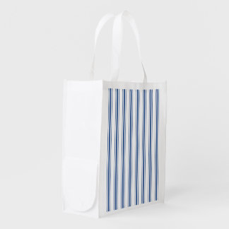 Dark Blue and White Mattress Ticking Narrow Stripe Reusable Grocery Bag