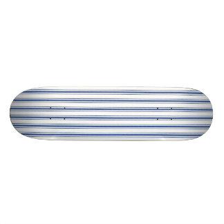 Dark Blue and White Mattress Ticking Narrow Stripe Skateboard Decks