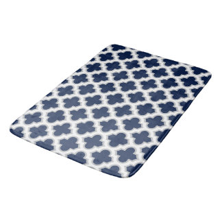 Dark Blue and White Moroccan Lattice Pattern Bath Mat