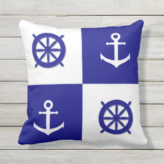 Dark Blue and White Nautical Boat Wheel and Anchor Outdoor Pillow